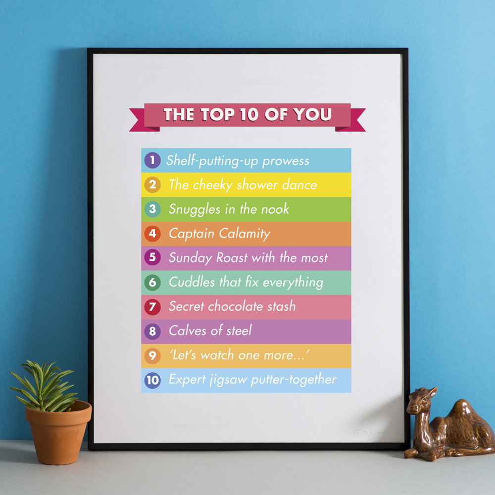 'The top 10 of you' personalised print