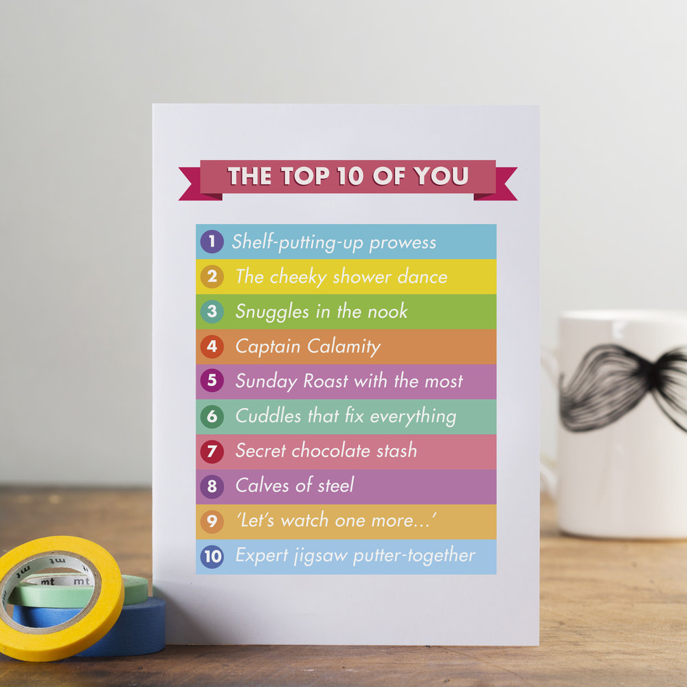 'The top 10 of you' personalised card