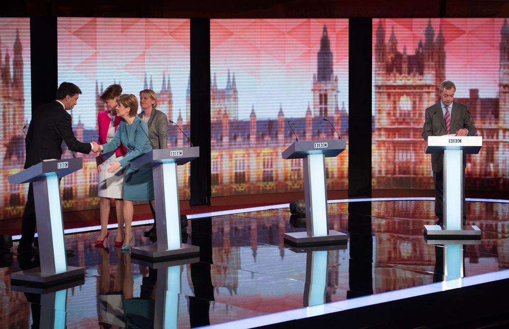 Labour Party leader Ed Miliband, Plaid Cymru Party leader Leanne Wood, Green Party leader Natalie Bennett, Scottish National Party leader Nicola Sturgeon and Ukip leader Nigel Farage after the BBC Challengers' Election Debate 2015 at Central Hall Westminster, London.
