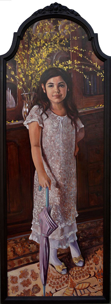 Siempre Preciosa mi Kara . oil on birch . 56 x 20