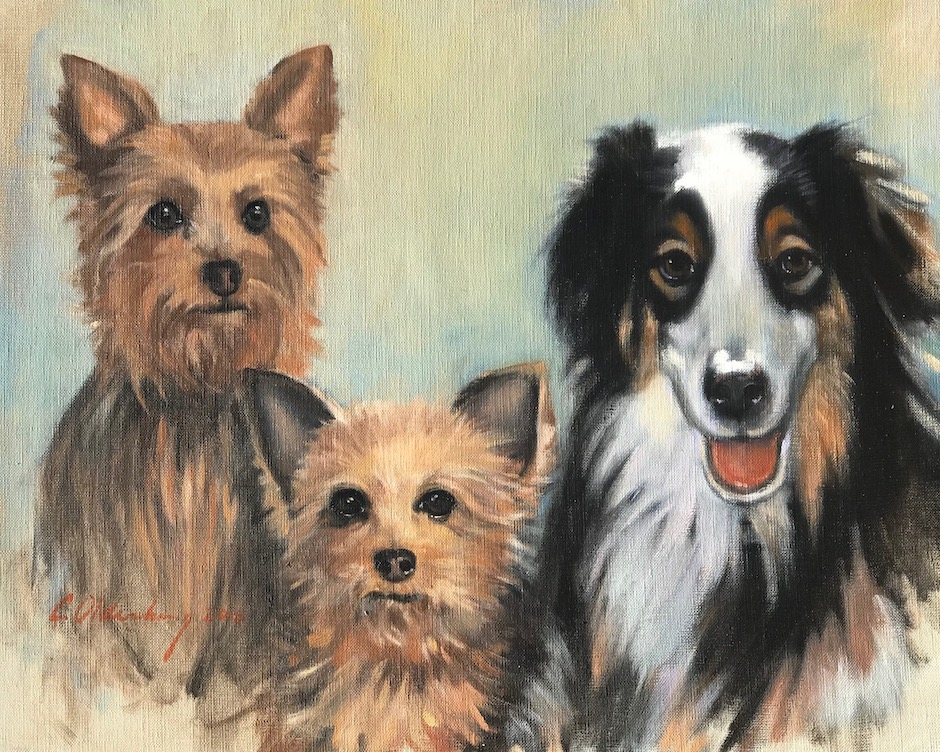 """The Fortier Dogs . oil on linen . 18"""" x 24"""" . commission"""