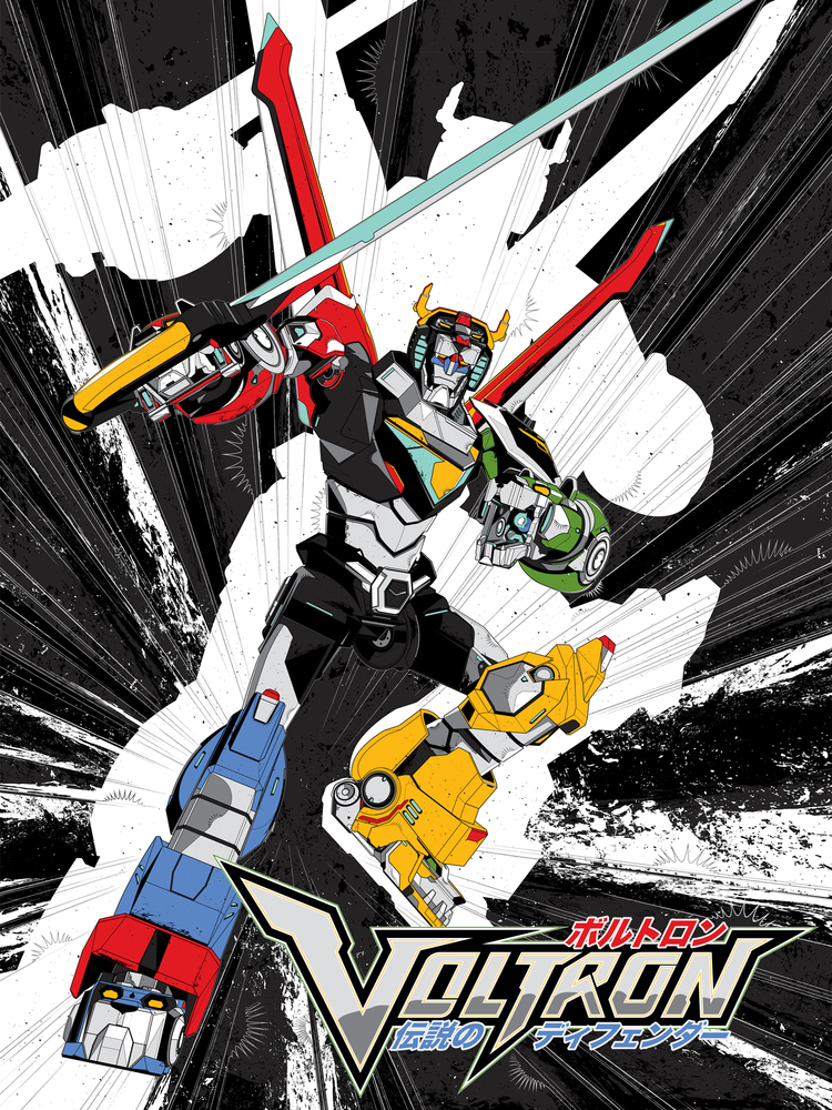 "VOLTRON LEGENDARY DEFENDER  - ANIME VERSION | $55.00 | Screen print on Foil | Limited Edition of 250 | 18"" x 24"""