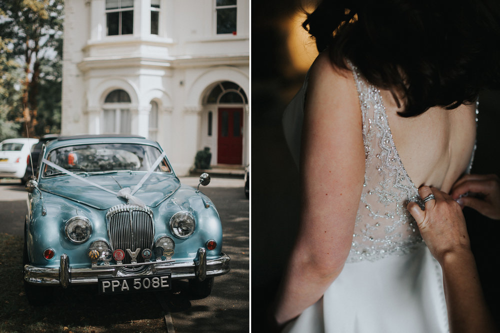 Blue Vintage Wedding Car
