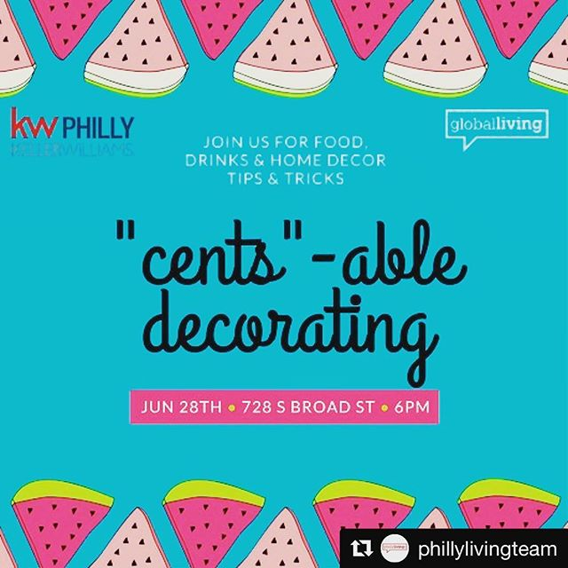 #Repost @phillylivingteam (@get_repost) ・・・ Dream of a gorgeous new look at home but the budget is tight? Cents-Able Decorating is what you need! Join us for food, drinks & DIY ideas for a beautiful home! Click the 🔗 in the bio for more details and to secure your seat! #DIY #PhillyEvents #DIYClass #BudgetFriendly #Budget #PhillyRealEstate #HomeOwner #HomeBuyer #Renters #PhillyLiving #PhillyRealtor