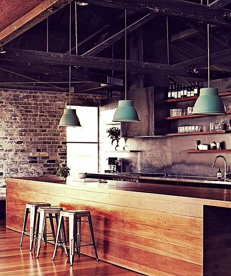 Rustic Modern Kitchen with exposed brickwork