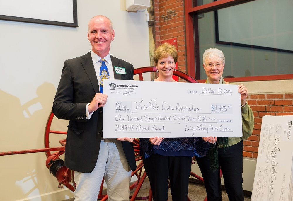 PA Council for the Arts Grant 2017  Wednesday, October 18, The Lehigh Valley Arts Council presented WPCA with a Project Stream Grant funded by the Pennsylvania Council for the Arts. It will be used to fund our Spring Brunch/Music in the Park with Tri City Tango as well as the 2nd Annual Plein Air Workshop instructed by Adriano Farinella which enables us to provide the West Park Arts Education Scholarships providing means for area artists to continue thier education at the Baum School of Art.  The event took place at The National Museum of Industrial History in Bethlehem.