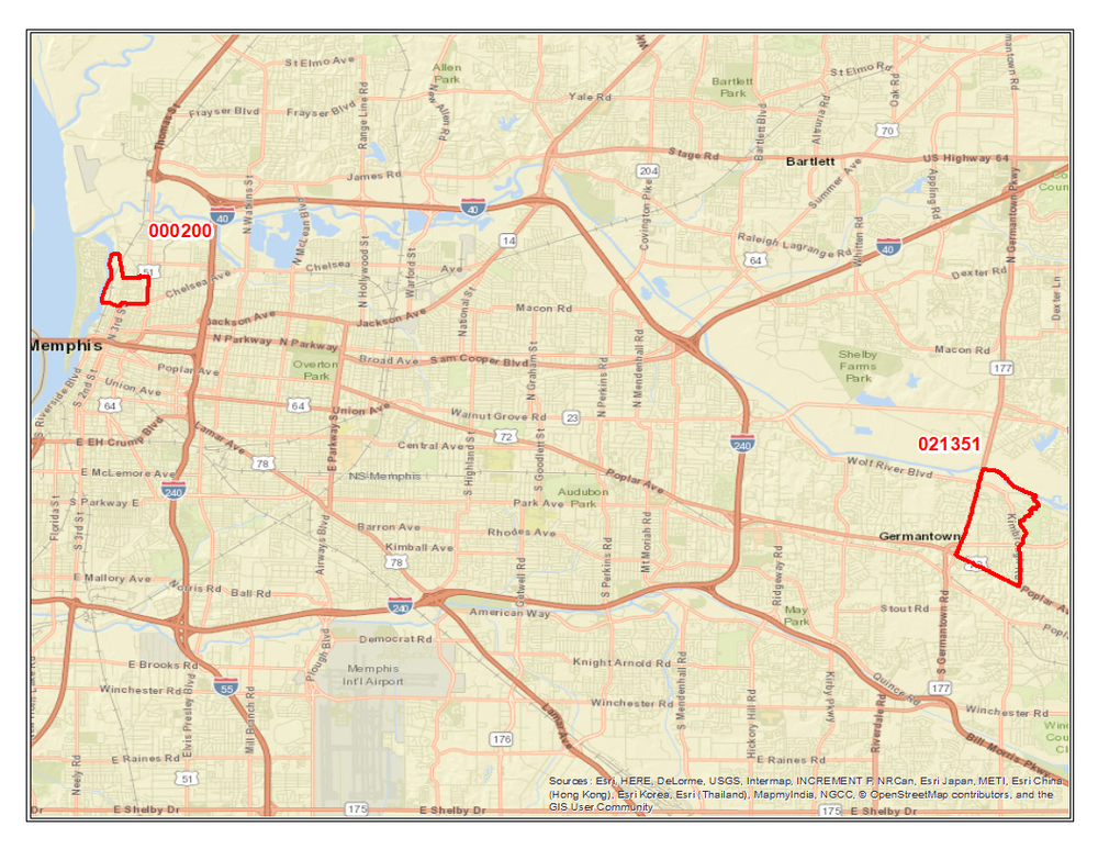 Map 1. Reference Map of Shelby County Tracts and Neighborhoods