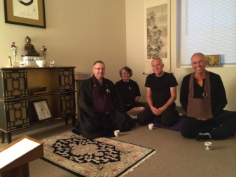 """Left to right: Rev. Daito Thompson-Osho, director of the Sarasota Zen Center, 16 Bodhisattva Preceptor Ann An-sui Baugh, Victor DAndrea, """"tenzo"""" (head cook) of the Caracus Zen Center (Venezuela) and Tom Zenho Whalen of the Albuquerque Zen Center."""