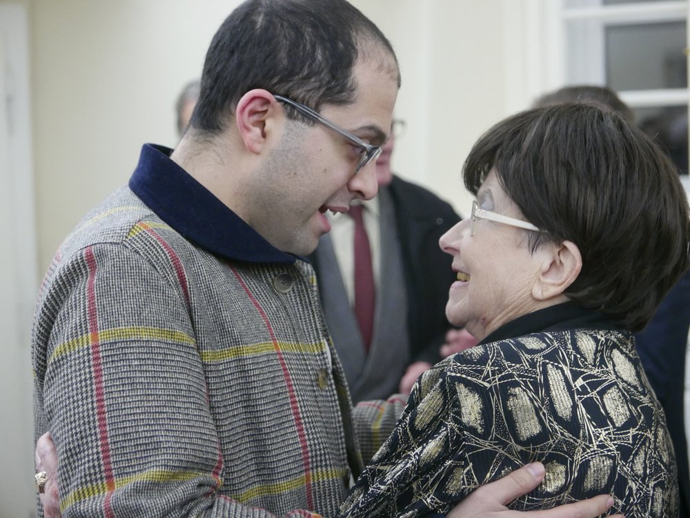 Mahan Esfahani greets Zuzana Ruzickova at her 90th birthday celebration in January 2017. Mr. Esfahani has been one of her prominent students who today enjoys international acclaim for his outstanding harpsichord recordings and performances.