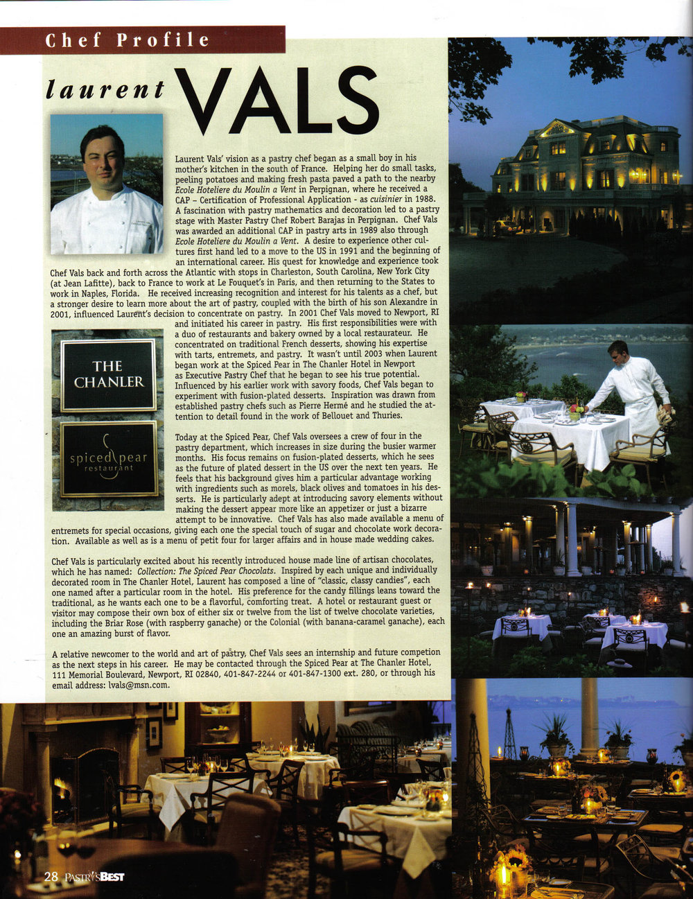 Chef Profile of Laurent Vals in Pastry's Best Magazine May 2006