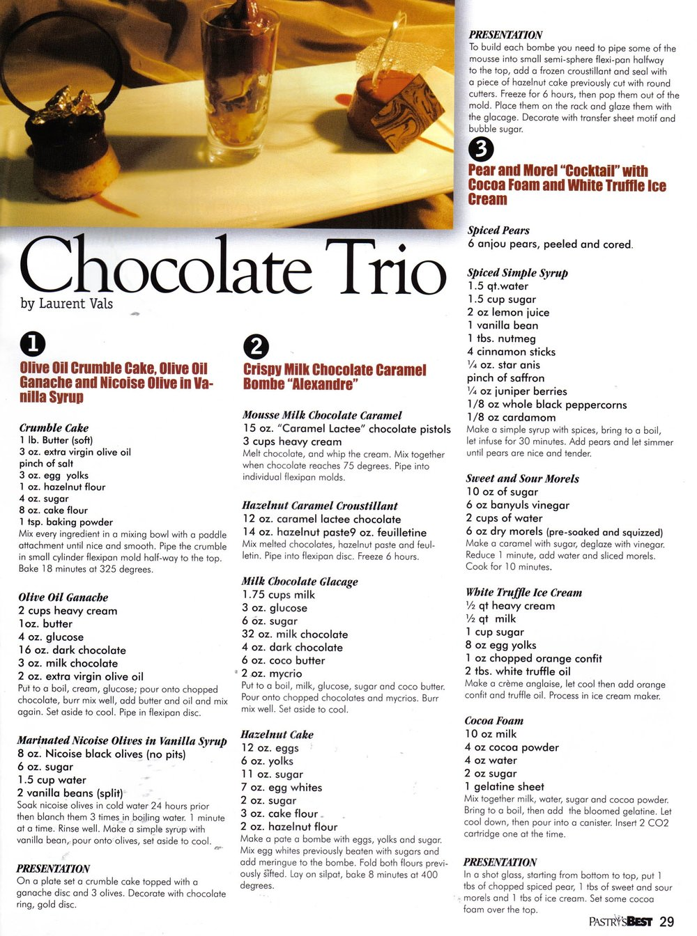 Laurent Vals' Chocolate Trio Recipe in Pastry's Best Magazine May 2006