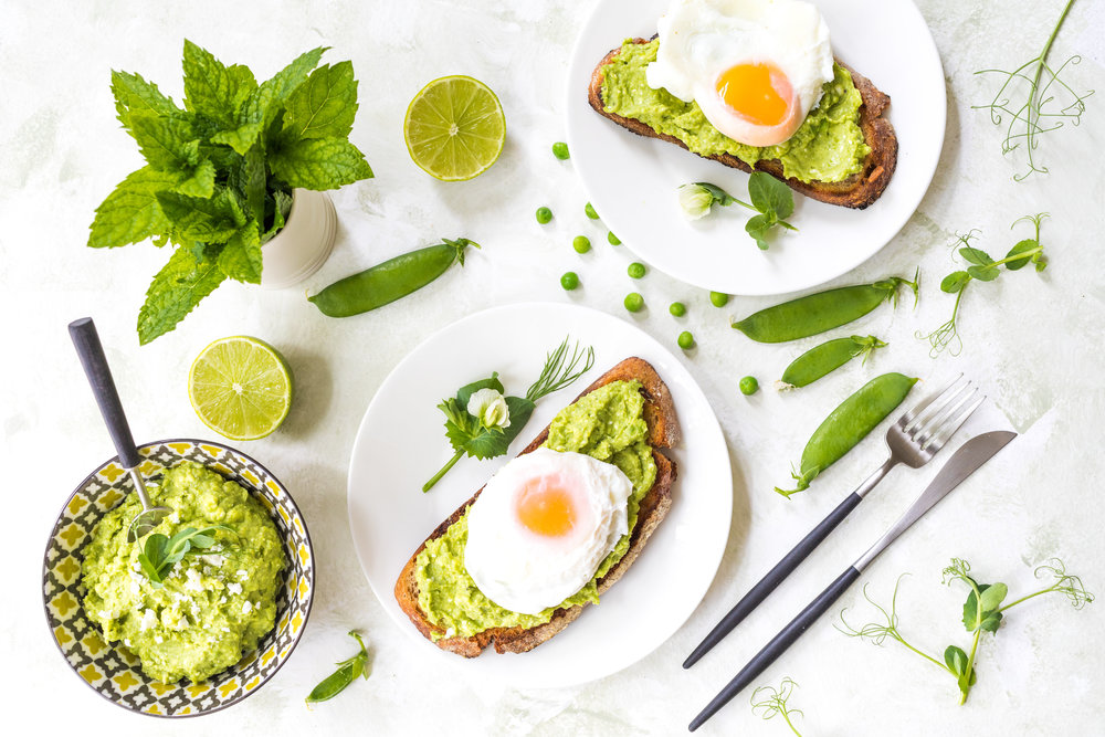 Avocado, Peas and Feta on Toast  - with Poached Eggs