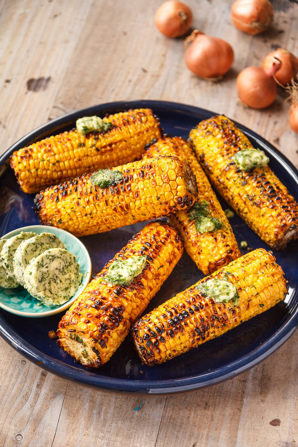 Barbecued corn on the cob with shallot herb butter.jpg