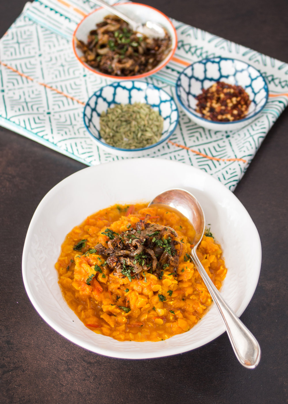 Isle of Wight Tomato Dhal with Shallot Tadka - Cook up a this fab vegan lentil curry. Fragrant, creamy, and packed full of flavour it's the ultimate in comfort food.