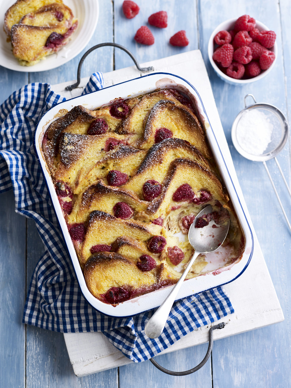 BerryWorld raspberry brioche pudding - This pudding has a sharp fruity flavour from the raspberries with lovely sweet brioche. Try with ice cream for added indulgence.
