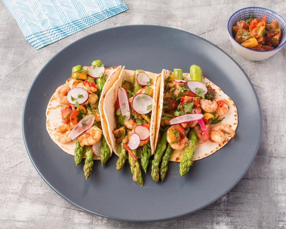 British asparagus and prawn tacos with a tomato salsa.jpg