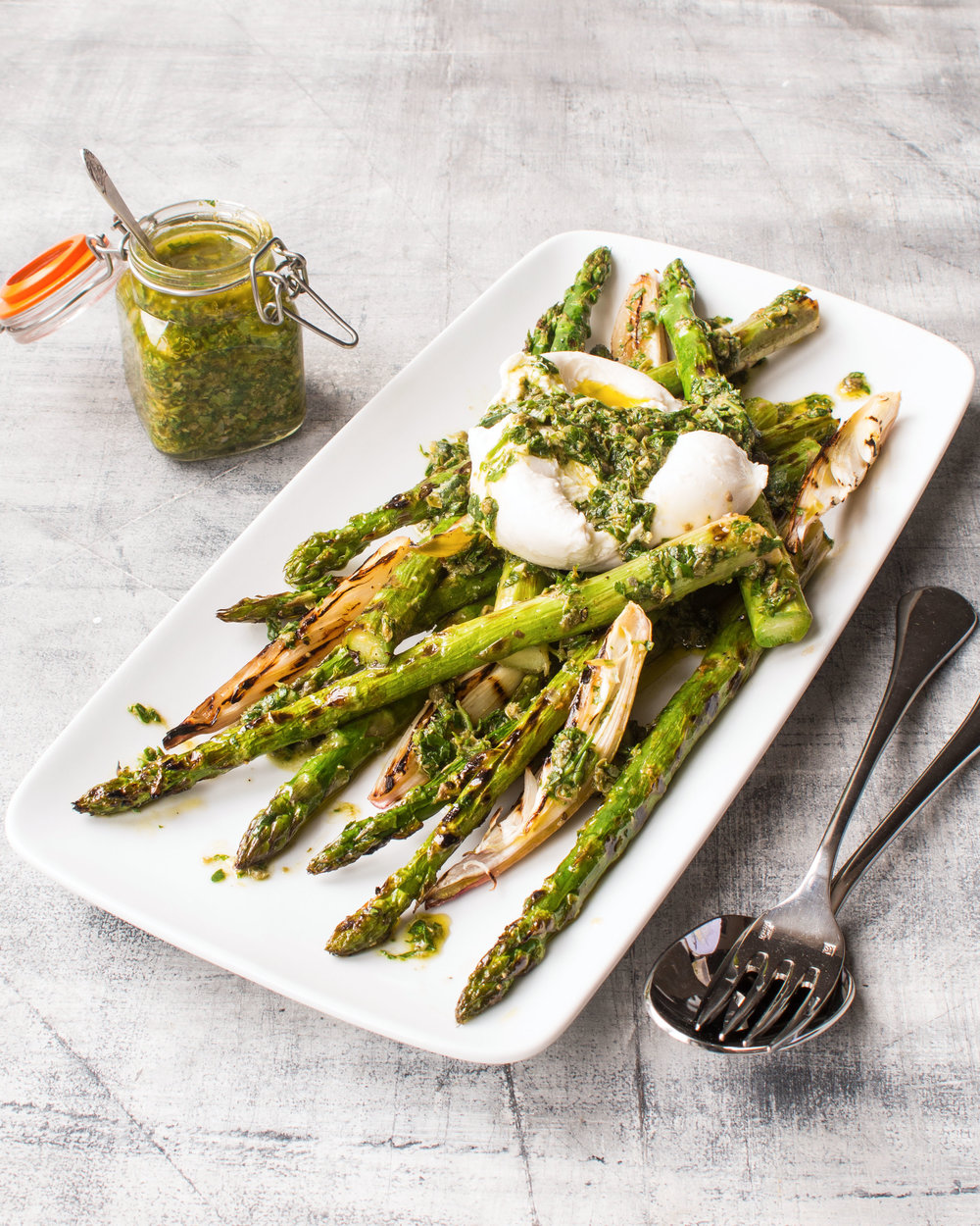 Griddled British asparagus and shallots with salsa verde and burrata.jpg