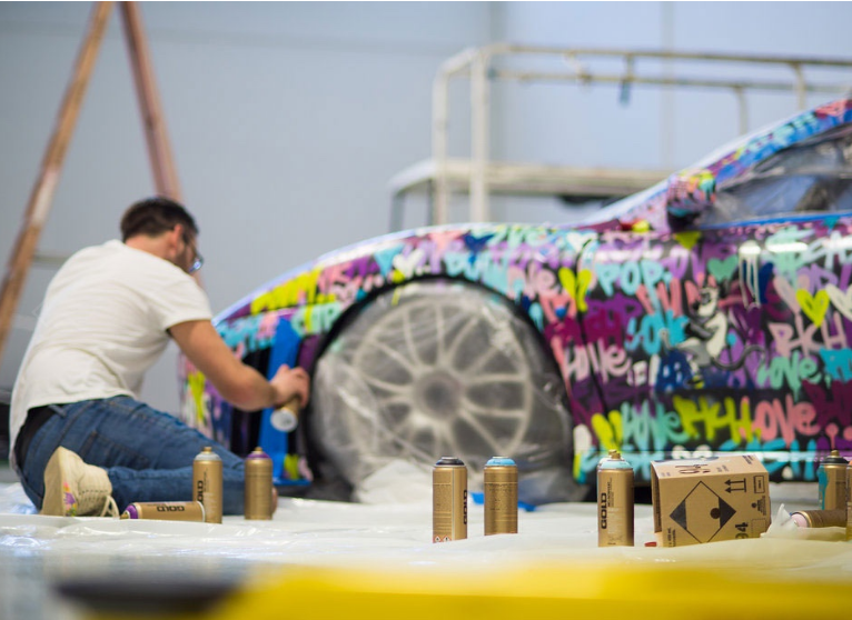 Ben Levy at work on a F430
