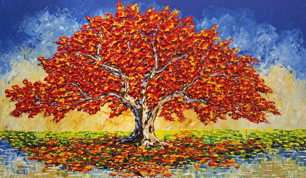"""Colorful Maple of the passing Stream"""