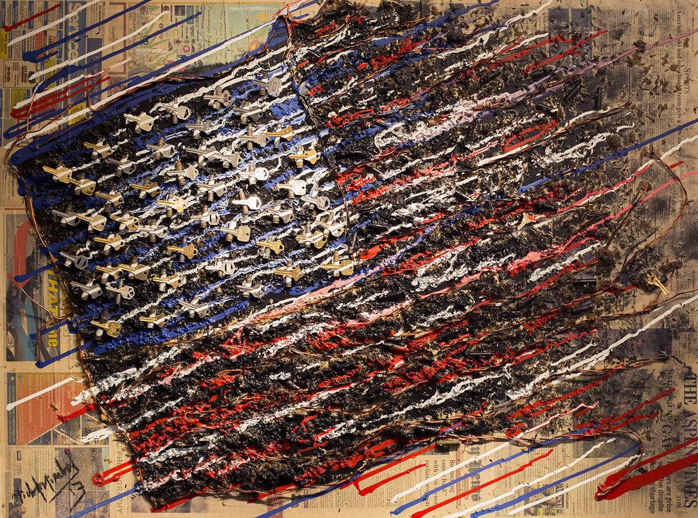 Black Flag - 36x48 - MICHEL MIRABAL