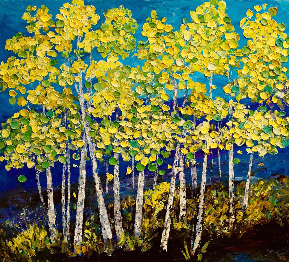 """Green & Yellow Aspens"" 40x36"