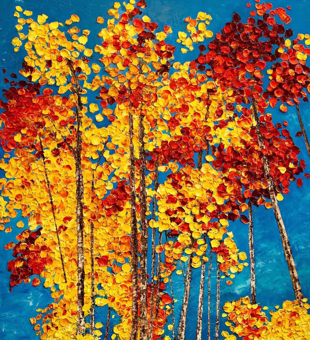 """Fall Aspens"" 40x36"