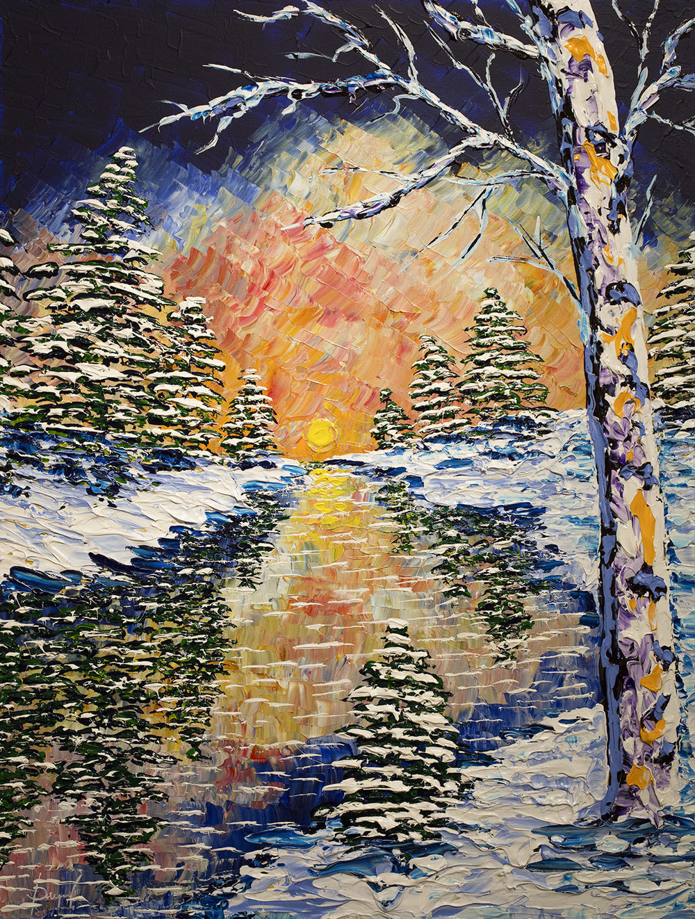 Bright forest of the winter Escape 30x40