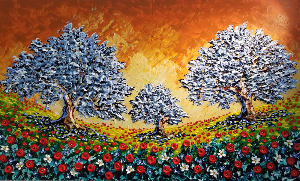 Olive trees, poppies, joyful meadow...