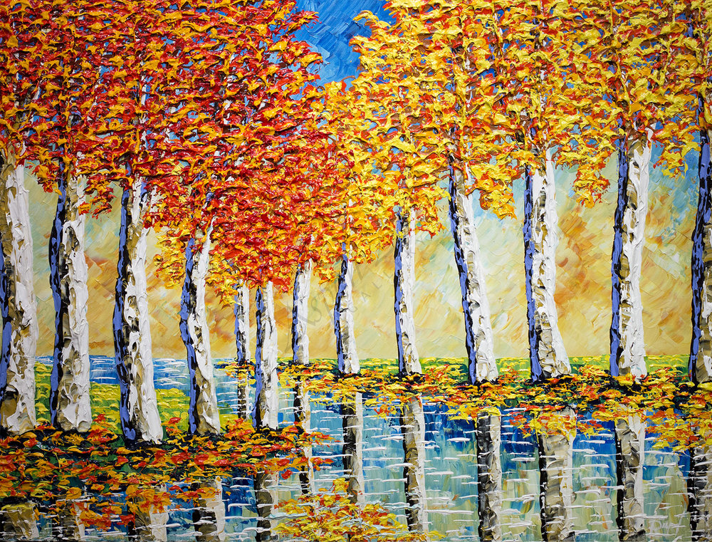 Mighty Sycamores of Gentle Streams 36X48