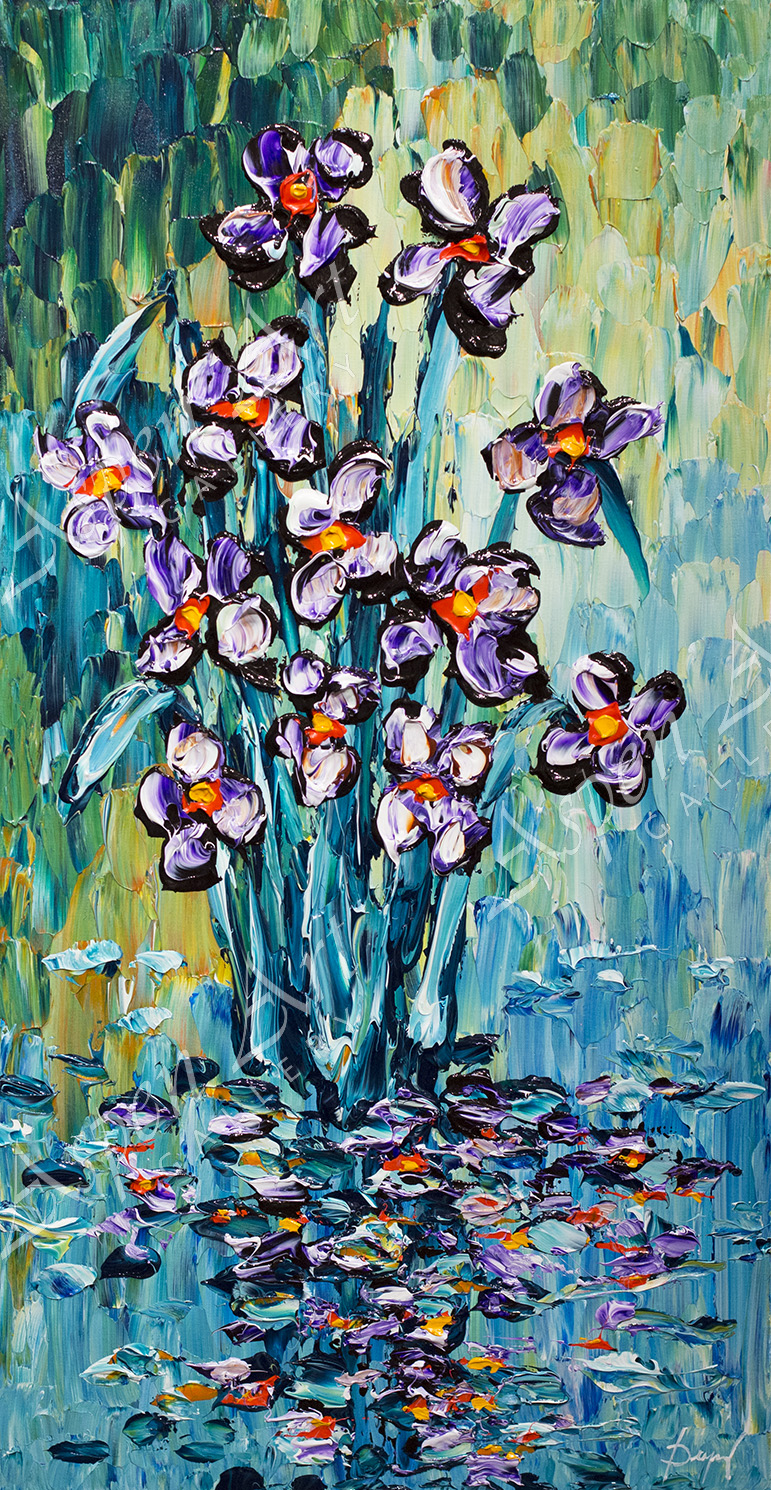Delightful Irises of Spring 40X20
