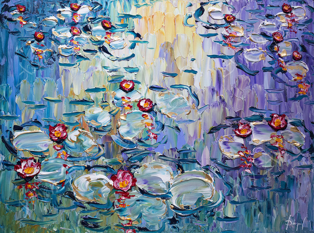 Beautiful Lilies of the Elegant Pond 30x40