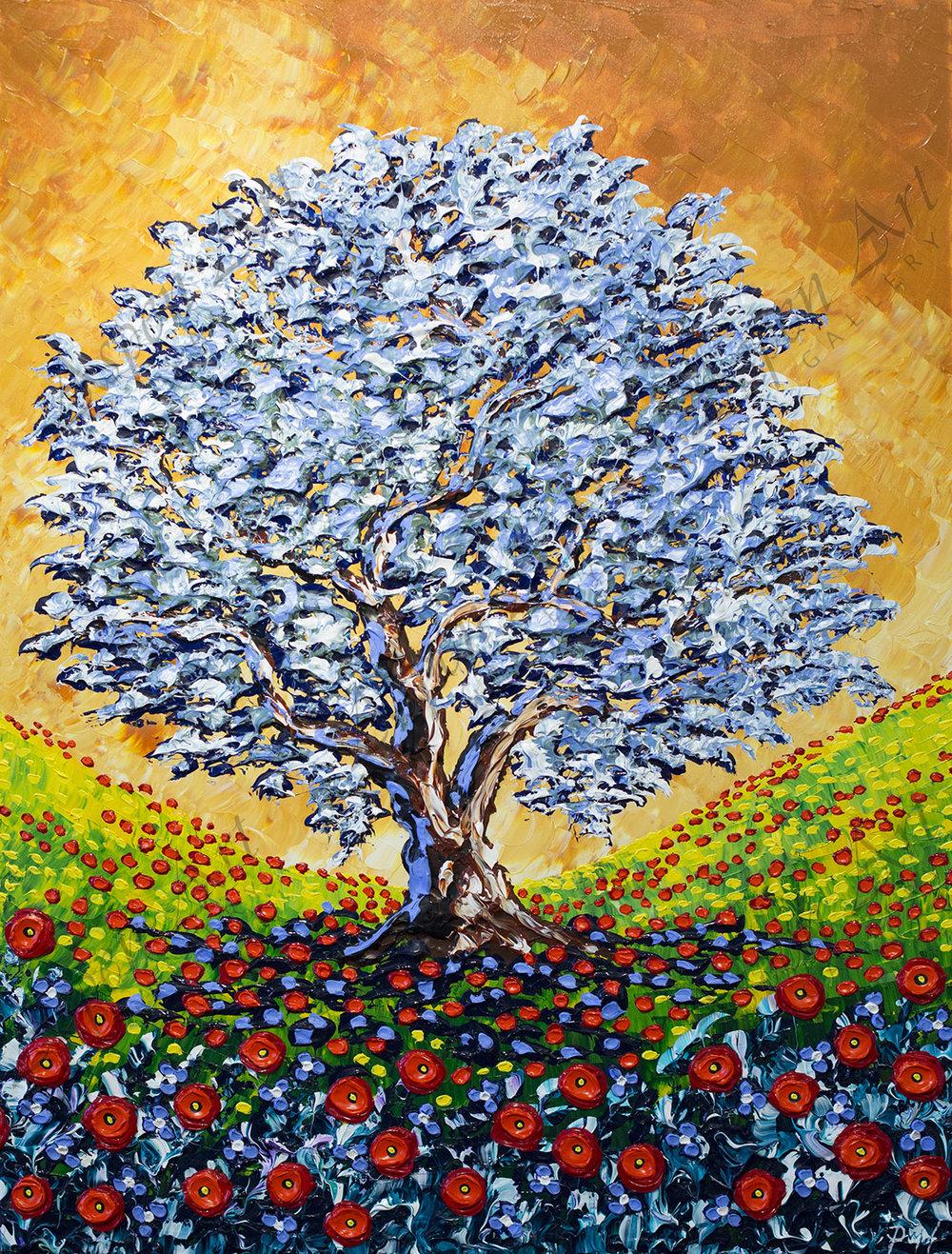 Olive Tree of Poppy Meadow 48x36