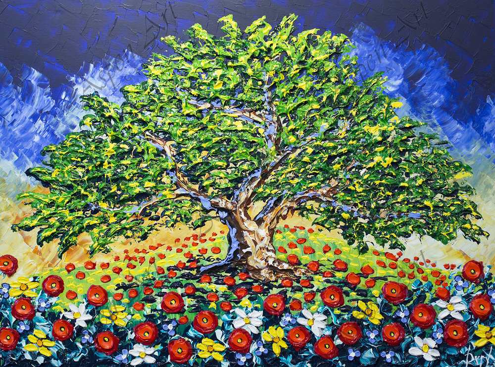 Majestic Tree of Colorful Flower 30x40