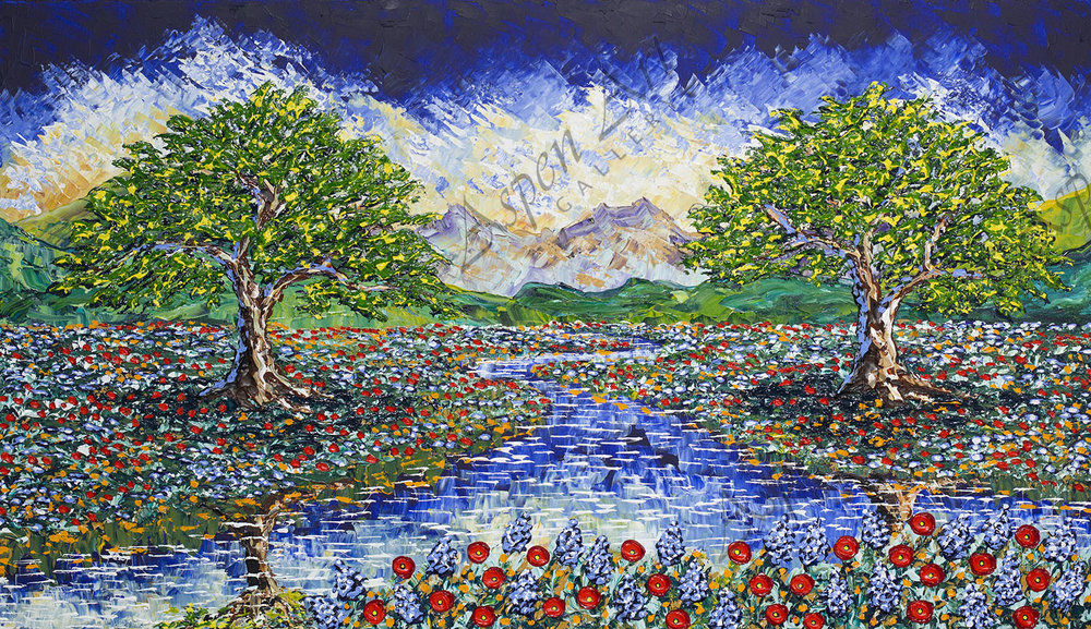 Colorful Stream of Beautiful Nature, 2018, 42x72
