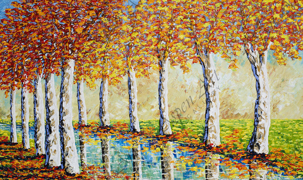 Streams of Beautiful Autumn Sycamores, 2018, 36x60