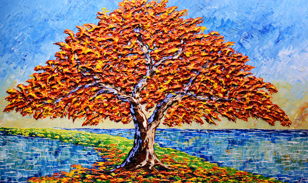Autumn Maple of Colorful Skies, 36x60