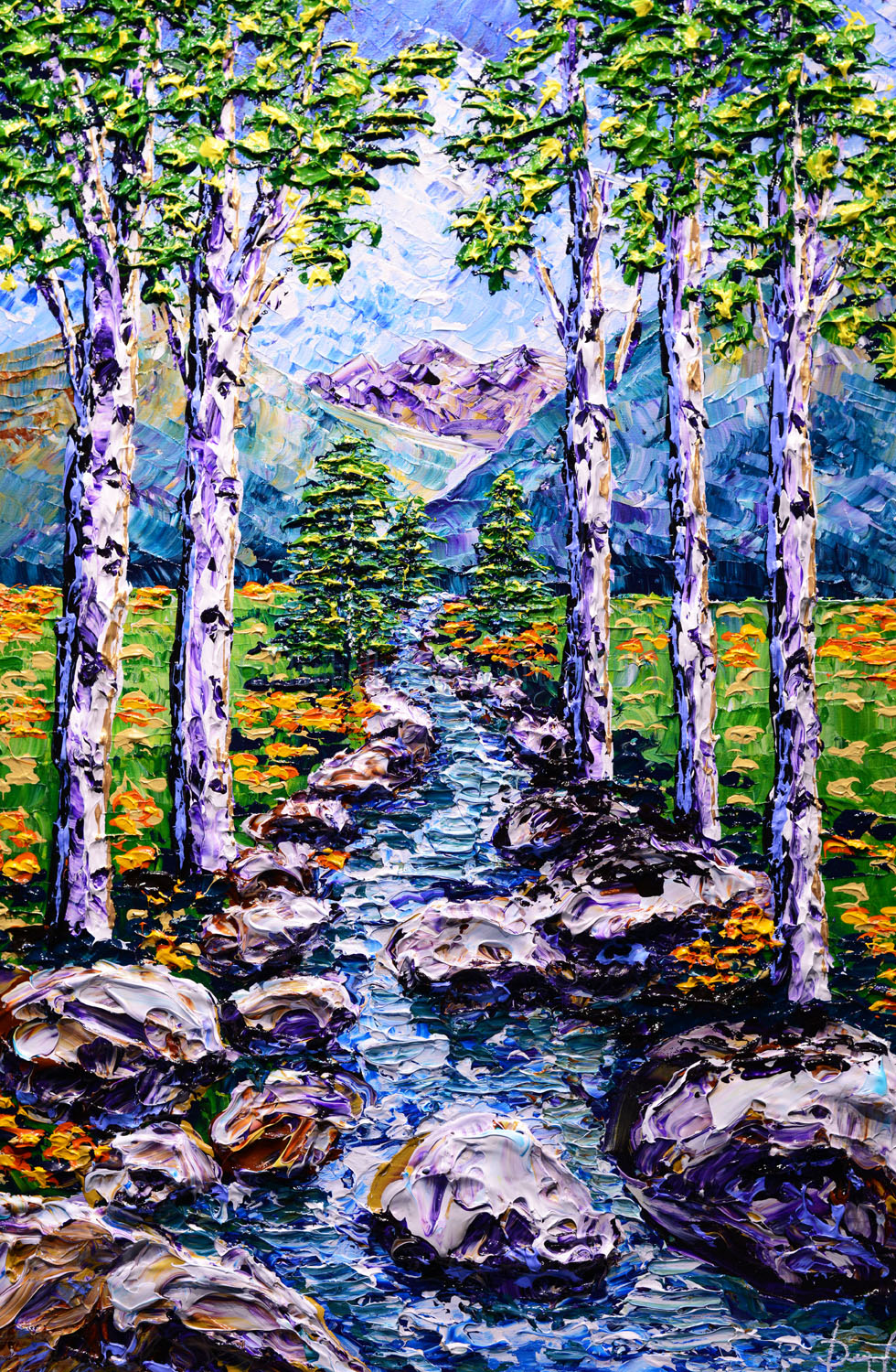 SOLD Colors along the Mountain Stream, 2018, 36x24