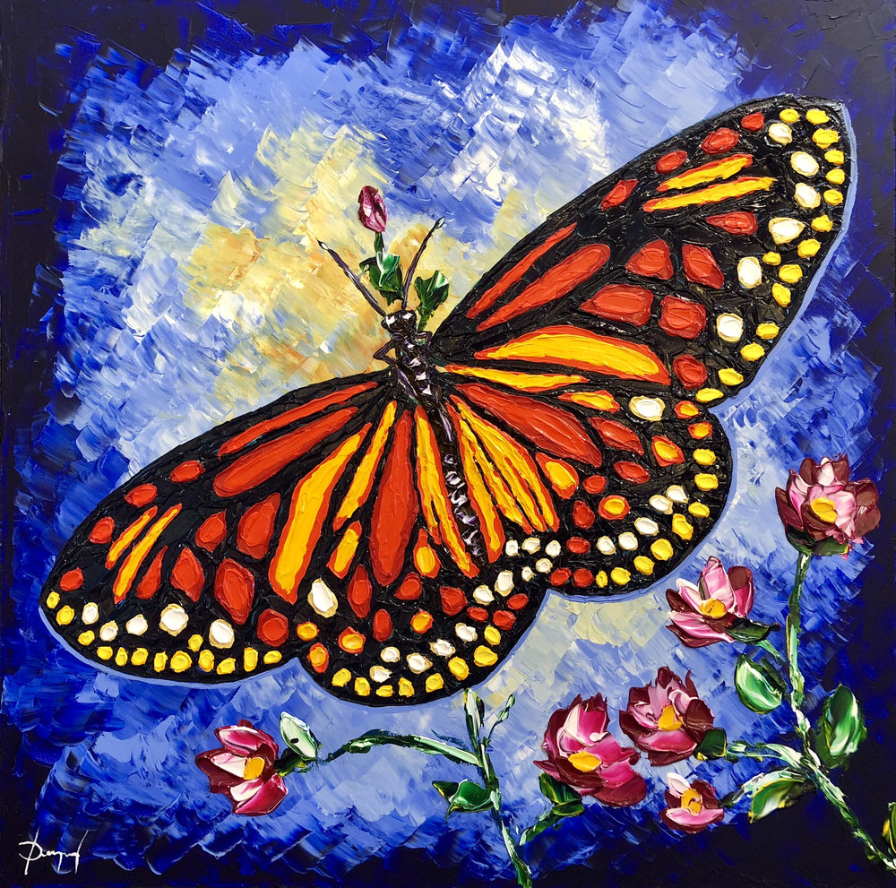 Colourful Butterfly of Grace 36x36