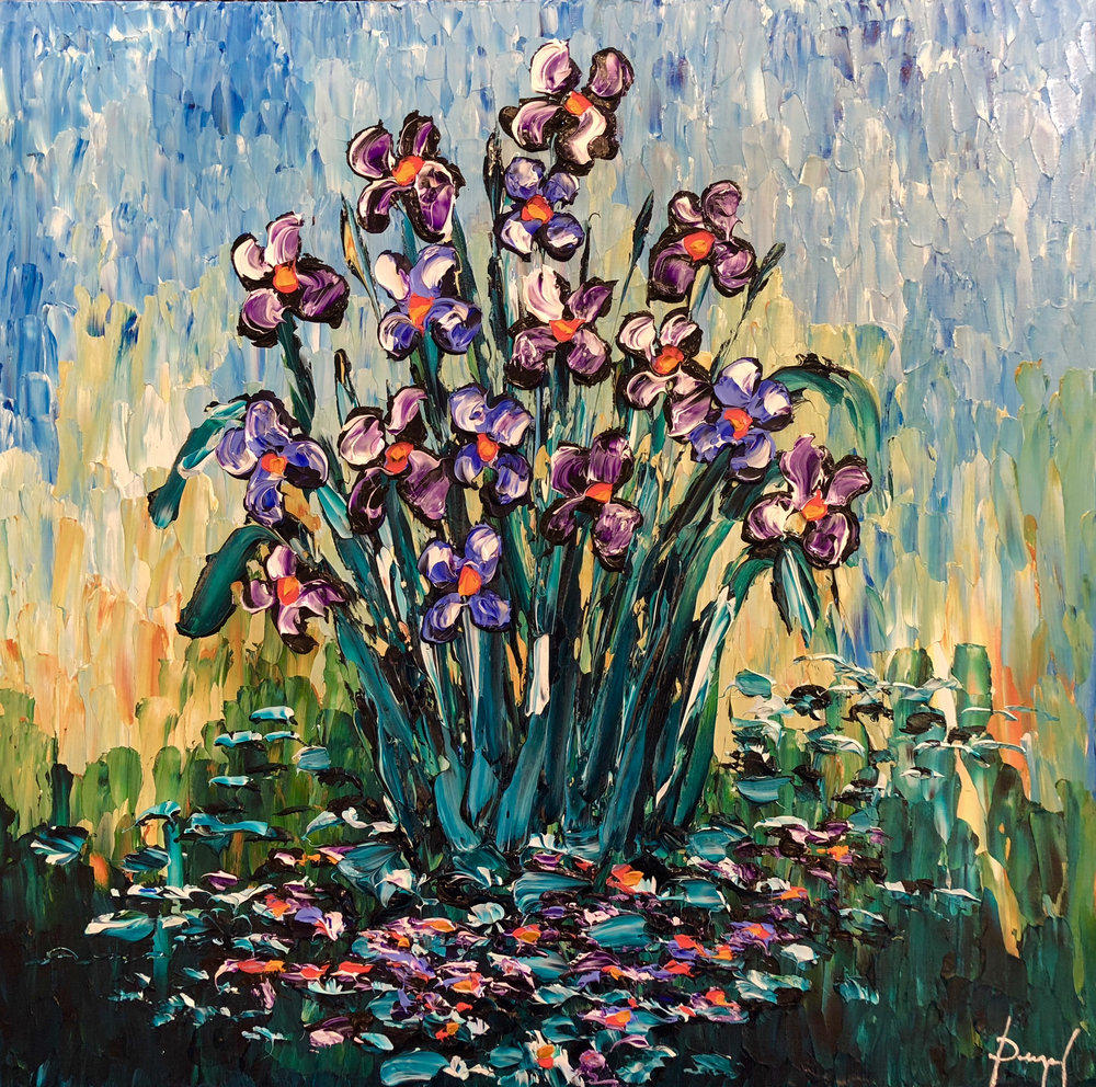 Delightful Pond of Irises 36x36