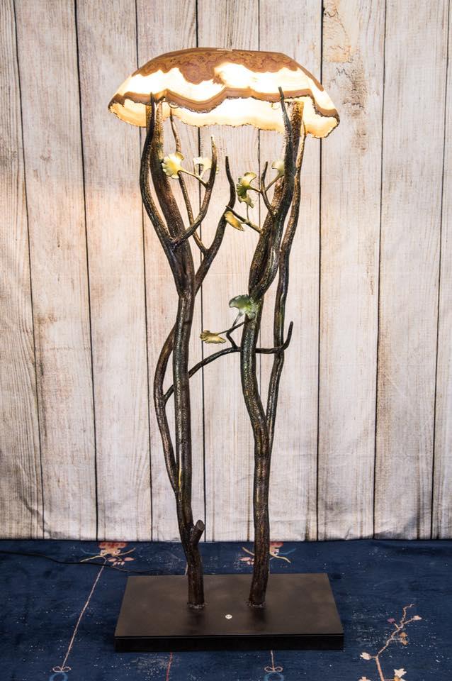 Floorlamp w/ Onyx Lamp Hand Carved
