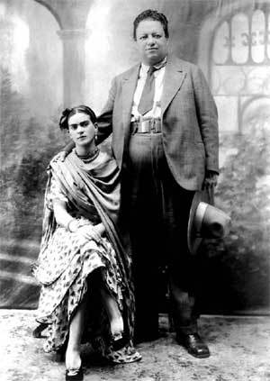 Frida with her husband, Diego Rivera