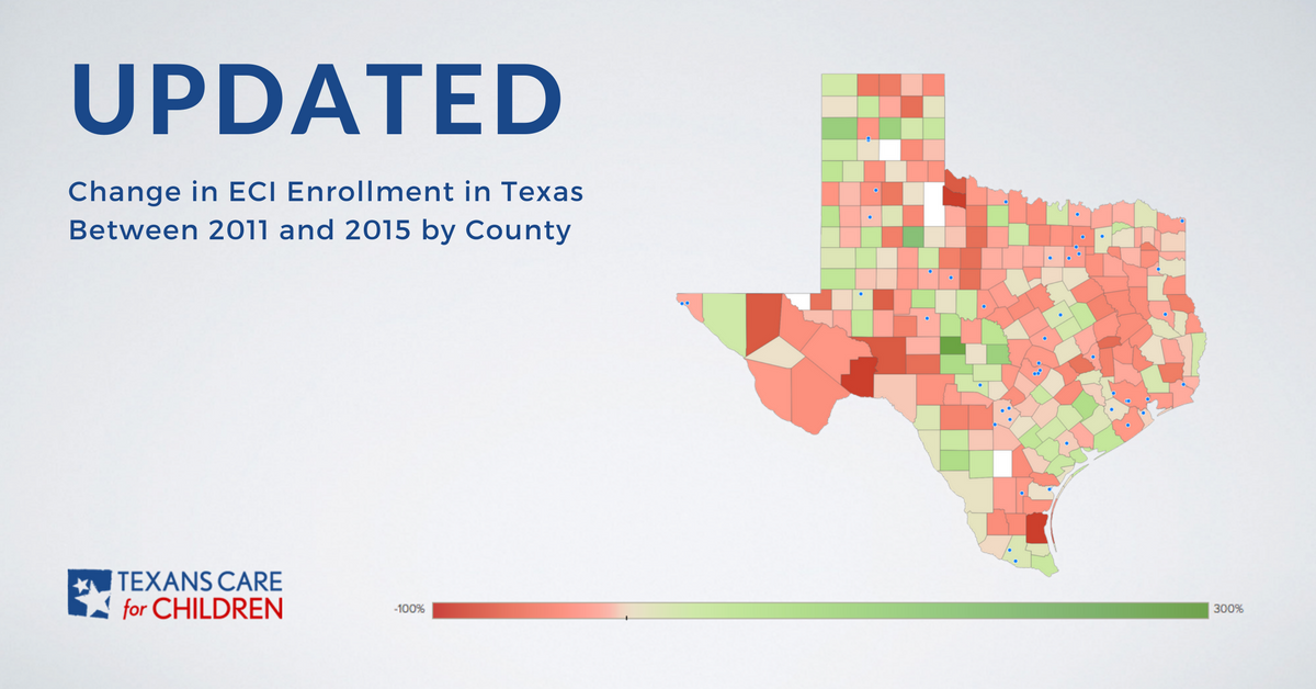 Map Of Texas 2015.Interactive Map Eci Enrollment Trends By Texas County Texans Care