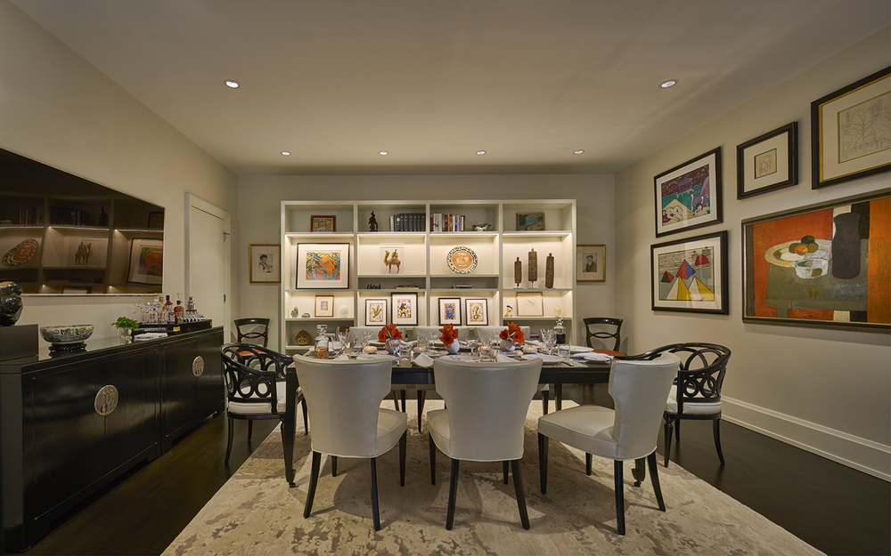 The Study ingeniously converts to The Dining Room in a Penthouse at The Montgomery