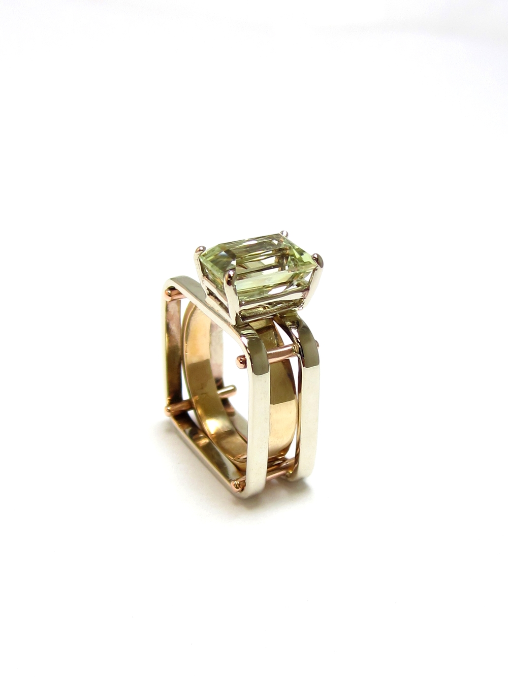 3 Tone 14k & Quartz Scaffold Ring