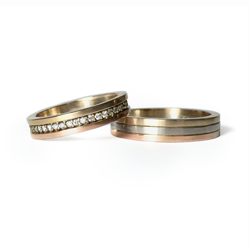 Tri Gold & Diamond Band Set