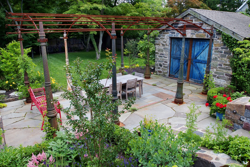 Greek Backyard Designs best mediterranean landscape design ideas remodel pictures houzz The Design Included An Arbor Crafted From Vintage Streetlamp Posts As Well As A Bluestone Patio And Blue Amish Crafted Doors To Give The Potting Shed The