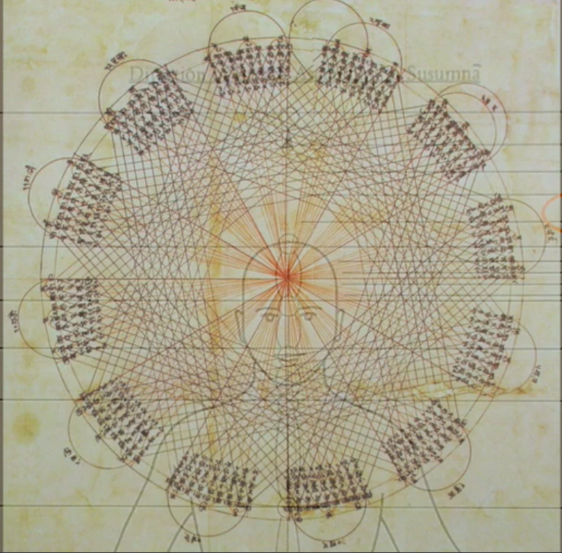The 12 constellations of the solar year superimposed onto the subtle body.