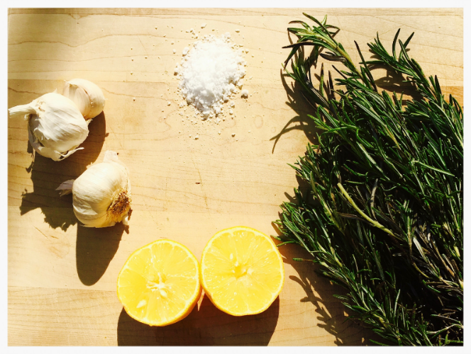 Lemon, Garlic, rosemary and sea salt make a wonderful flavor combination.
