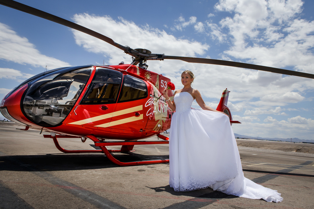 Stunning Bride with Helicopter