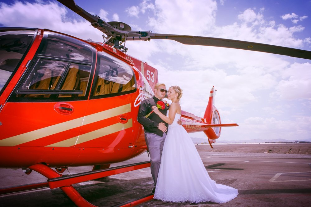 Helicopter Wedding Ceremony Over the Vegas Strip - What could be more exotic than getting married in a helicopter flying over the Las Vegas Strip?